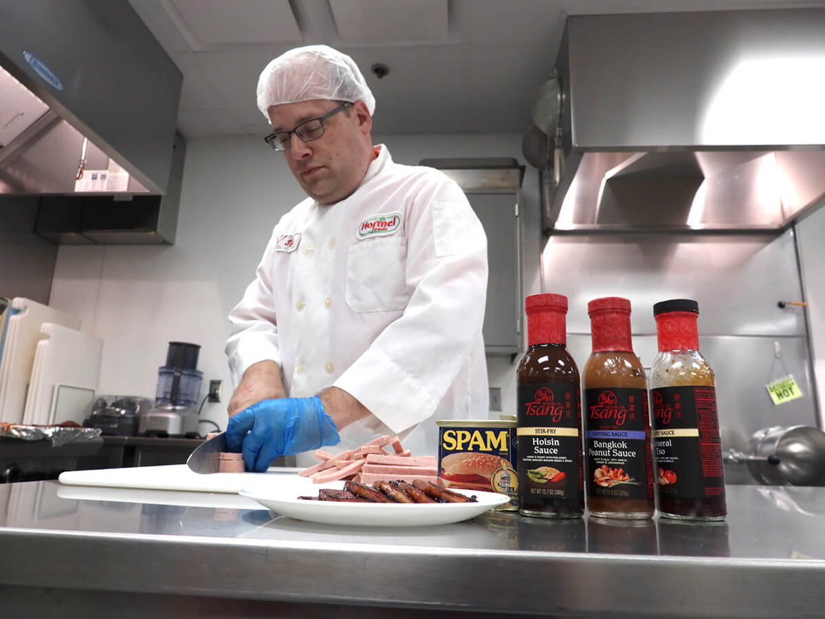Culinologist Cooking with house of Tsang sauce