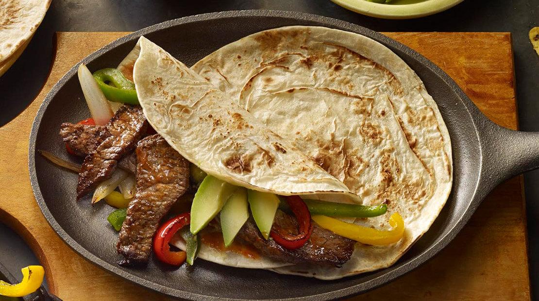 sizzling steak & avocado fajitas