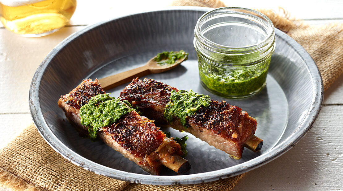 Babyback Ribs with Midwestern Spice Mix and Cilantro Pesto