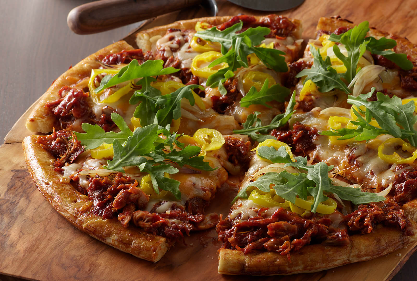 LLOYD'S® Pig Beach BBQ Chicken Pizza with Arugula, Shallot & Banana Peppers