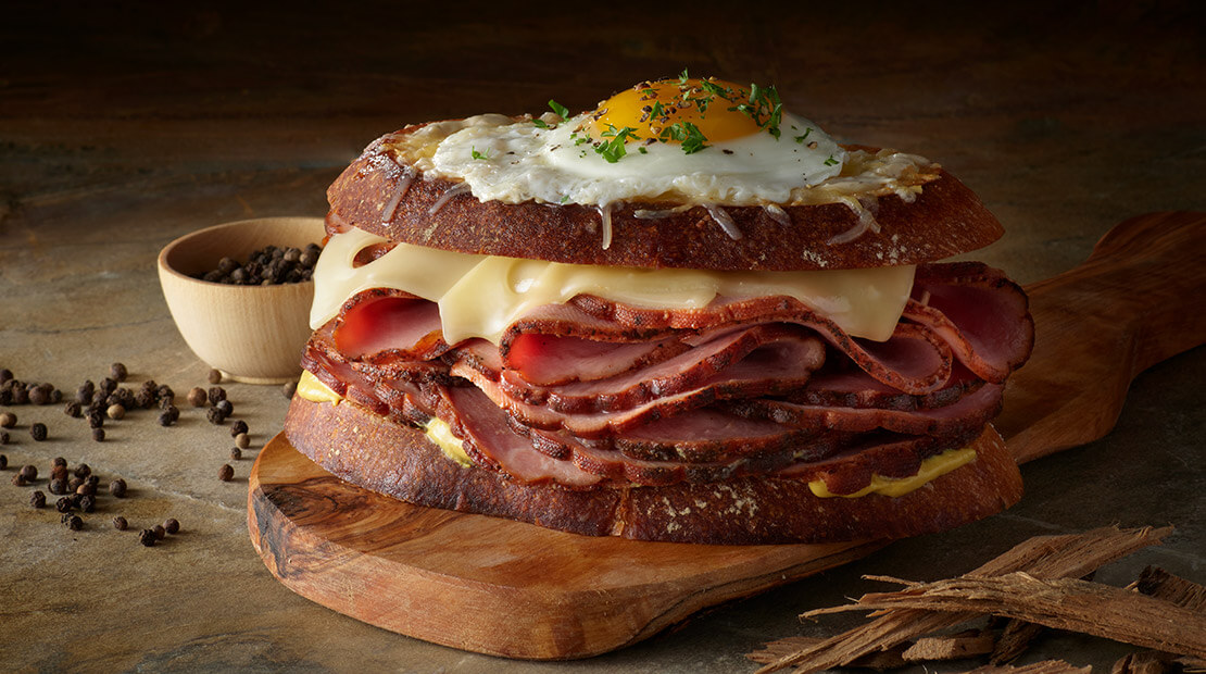 Pecan Smoked Sweet Black Peppered Ham Croque Madame