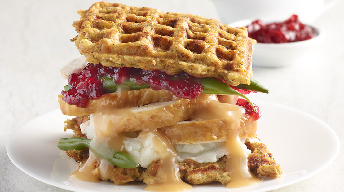 Waffled Stuffing Turkey Sandwich