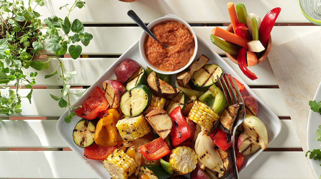 Grilled Veggies with a cup of Chi-Chi's salsa