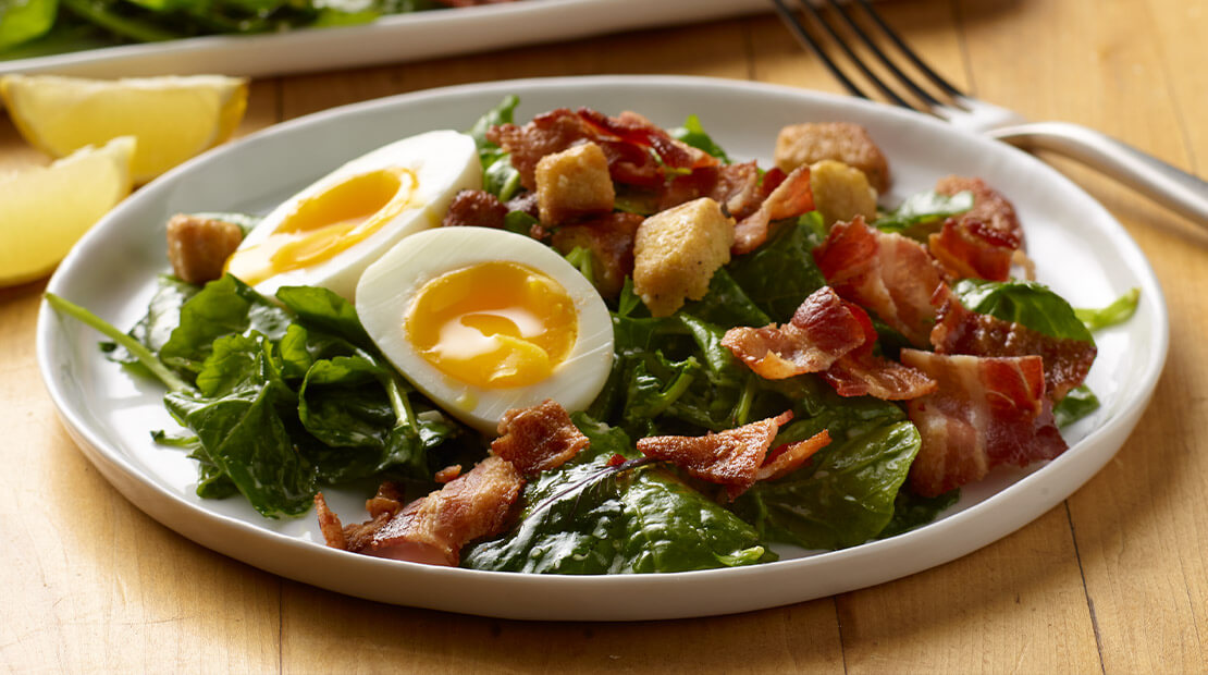 Kale Caesar Salad with Crisp Bacon and Soft-Boiled Eggs
