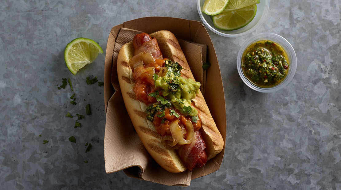 Hot Dog with chili and chimichurri sauce