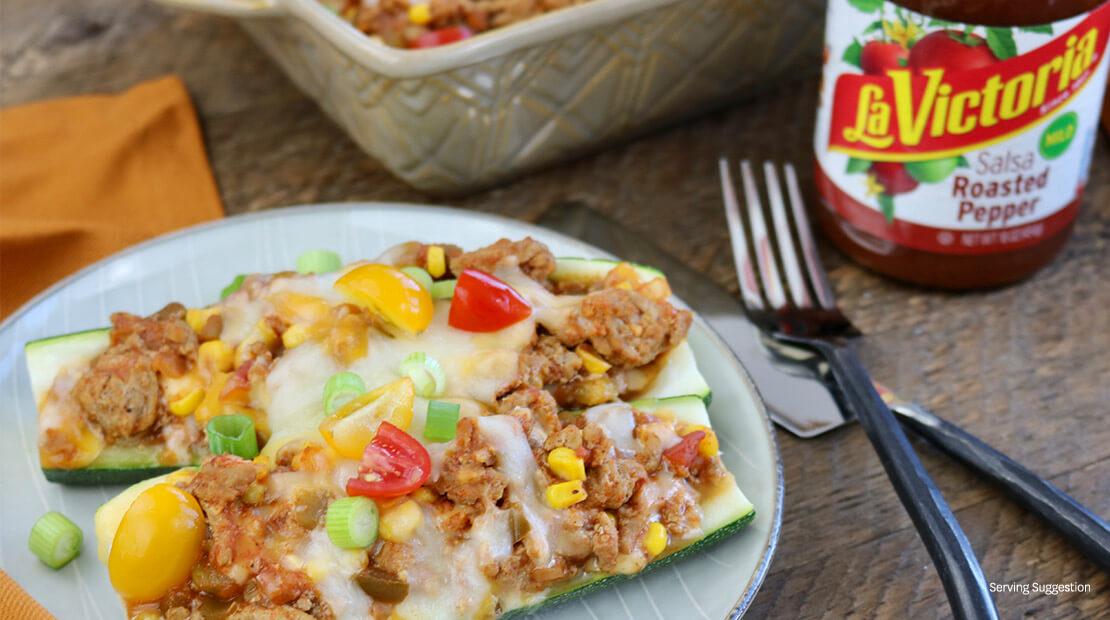 Spicy Turkey Taco Zucchini Boats