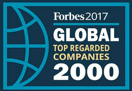 Forbes 2017 Top Regarded Companies logo