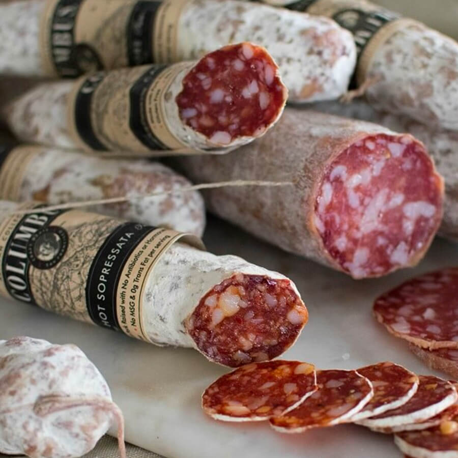stacks of Columbus meat