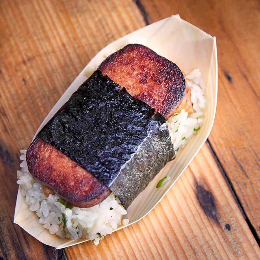 musubi on a wooden table