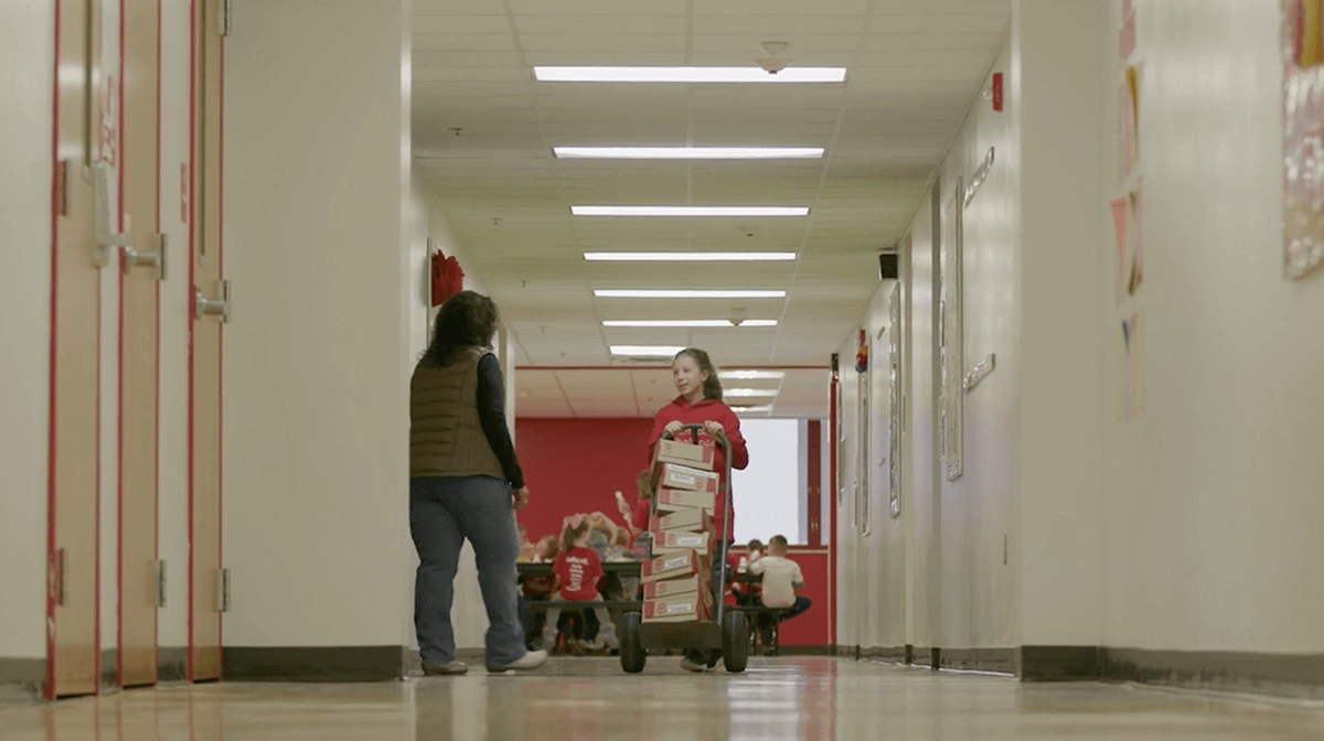 Elise Delivering Hormel Compleats to school