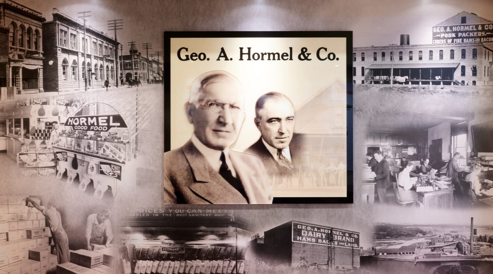 a collage of historic Hormel photos