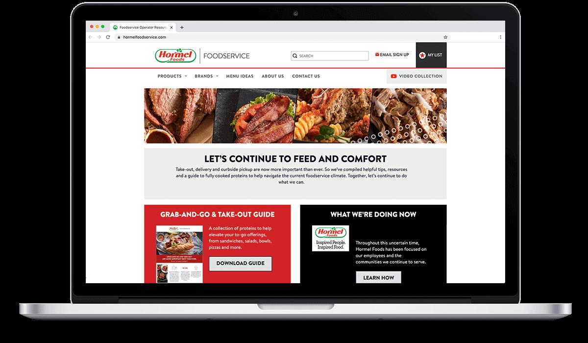 food service website on computer screen