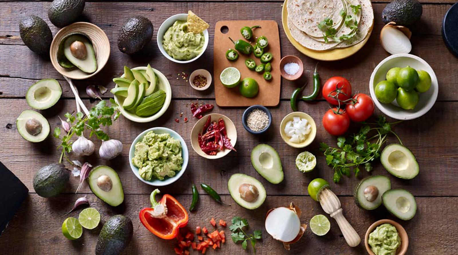 aerial shot of guacamole ingredients