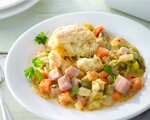 A bowl of hearty vegetable cobbler
