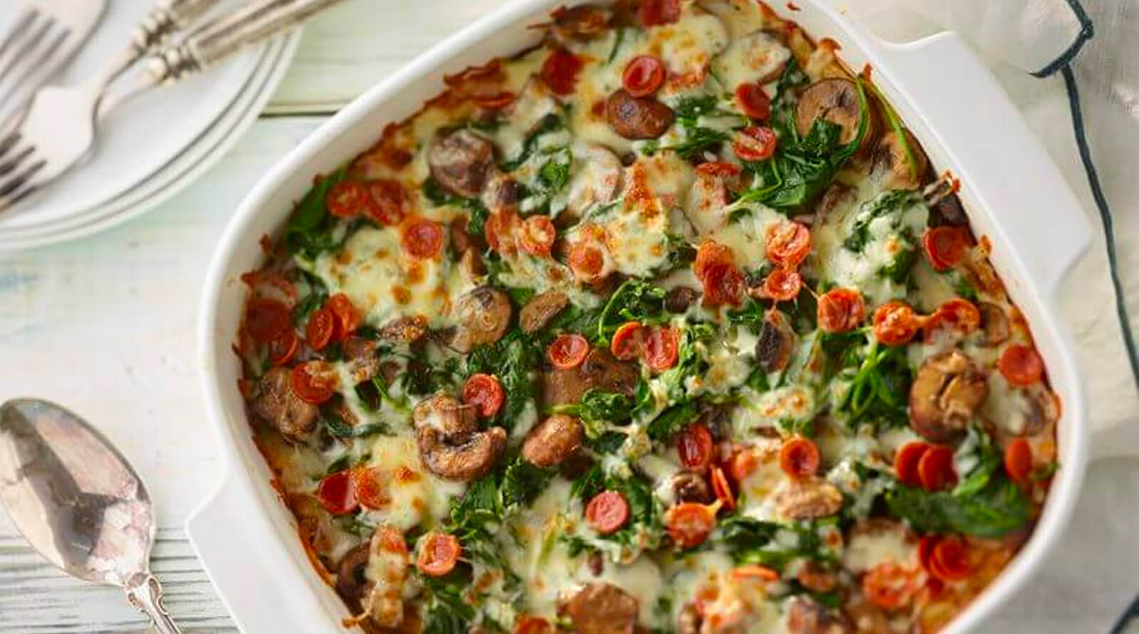 A dish of Pepperoni-Spinach Mashed Potato Crust Pizza