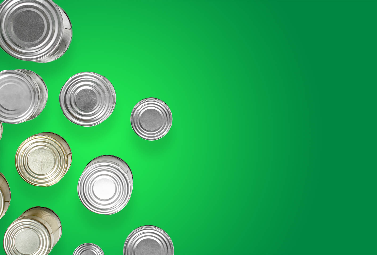Top view of canned goods