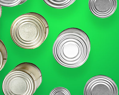Top down view of canned goods