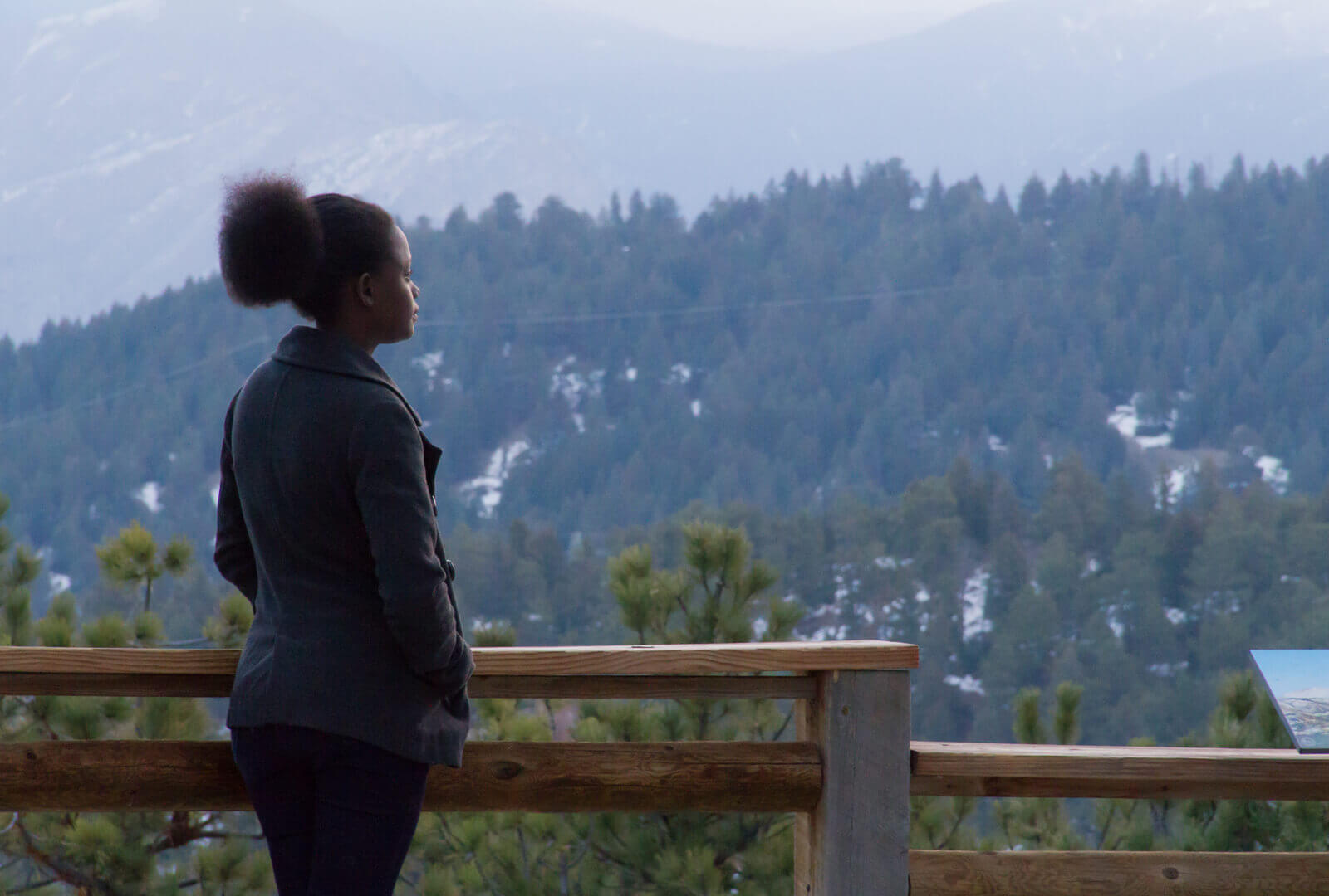 Grace looking out over the Mountains