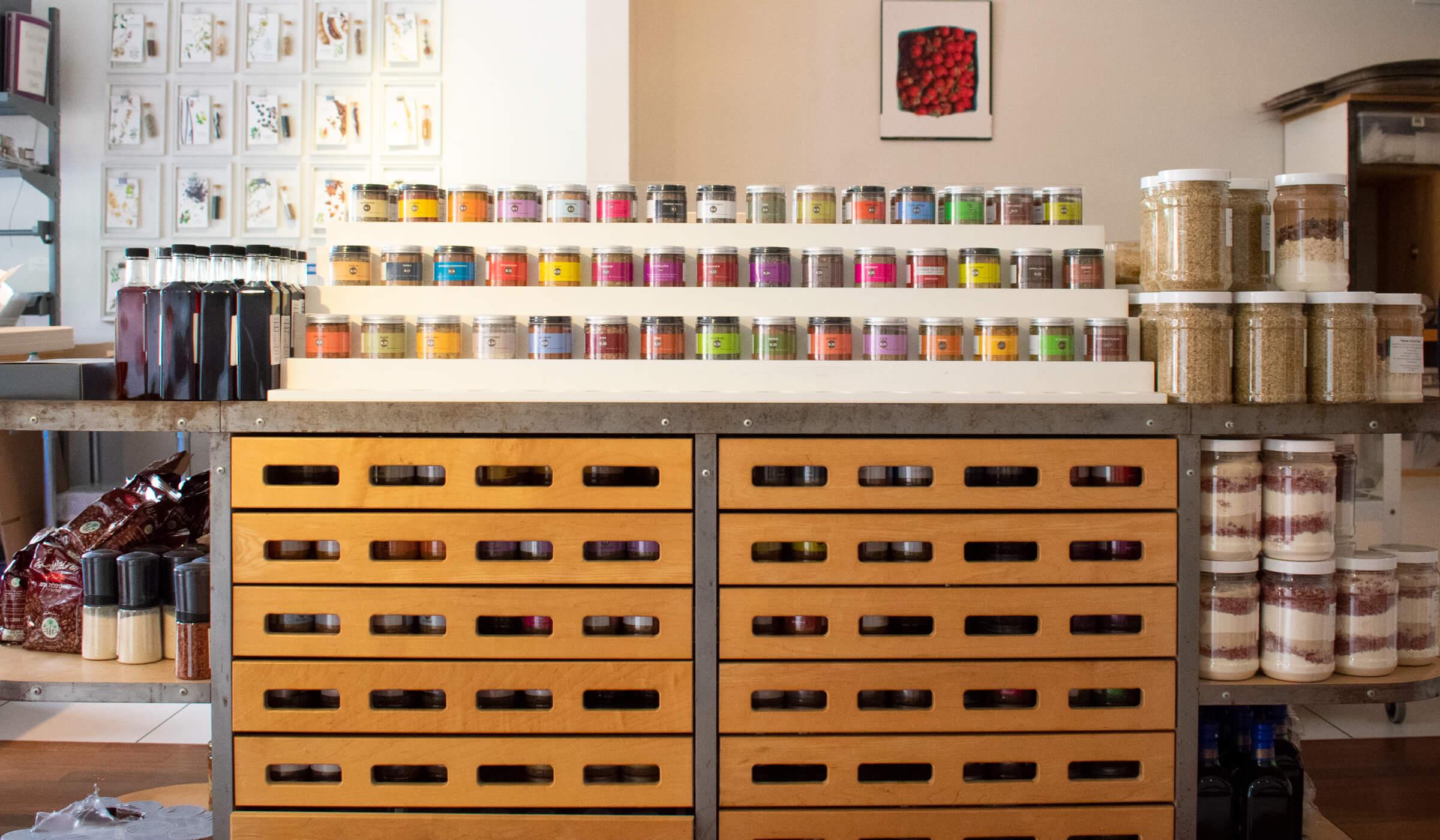 Rack of spices in the La Boite shop New York City