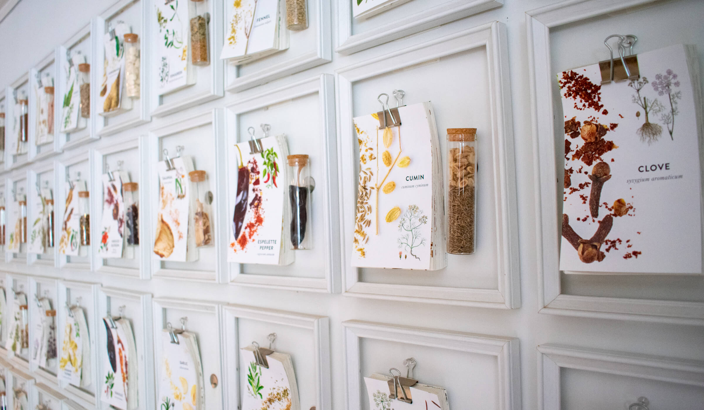 Wall of hand outs about spices at La Boite in New York City